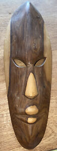 """Hand Carved Wooden Mask Home Decorative Art Wall Hanging 12"""" X 4"""""""