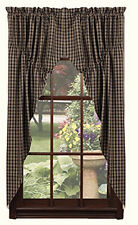"New Primitive Country 63"" BLACK & TAN CHECK PRAIRIE CURTAIN Window Swag"