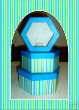 3 Hexagon Multi Color Striped Gift Boxes-3 Sizes-BLUE!