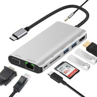 8 in 1 Type-C to HDMI VGA Hub Network Card Expansion Dock USB-C to USB 3.0 PD