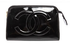 Chanel Black Patent Leather Timeless Cosmetic Pouch Bag