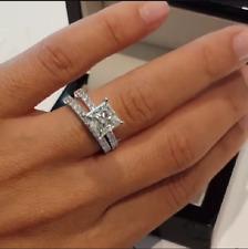 Certified White Princess Cut Diamond 2.65Ct 14K Gold Engagement Bridal Ring Set
