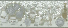 Textured Roses Wallpaper Border Silver Gray Gold Clock Vase UK Glenayr 57822