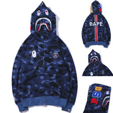Bape A Bathing Ape Shark Head Blue Camo Hoodie Hooded Jacket Full Zipper Coat