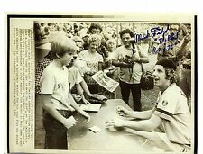 """Mark """"The Bird"""" Fidrych reprinted autograph from an AP wire-photo"""