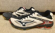 MIZUNO WOMENS SIZE 12.5 WAVE LIGHTNING ATHLETIC SHOES RED WHITE BLUE VOLLEYBALL