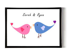 Personalised Anniversary gift for him her couple lovebirds print A4 cute birds