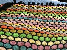 """Vintage Crocheted Multicolored Bright With Black Afgan Blanket Approx. 60""""x72"""""""