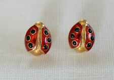 PIERCED EARRINGS ... ladybug, hot red enamel