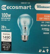 ecosmart Incandescent A19 Soft White 100 watt Equivalent (uses 72 watt)
