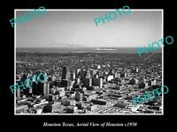 OLD LARGE HISTORIC PHOTO OF HOUSTON TEXAS, AERIAL VIEW OF THE CITY c1950