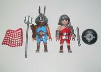 Playmobil Figurine Personnage Lot 2 Gladiateur Romain + Armes & Accessoires New