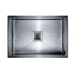 540*440*300mm Stainless Steel 1 Bowl Kitchen Laundry Sink Square Super Deep