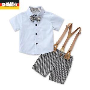 Jungen Baby Infant Party Hochzeit Kleidung Set Shorts Latzhose Hemd Shirt Anzug