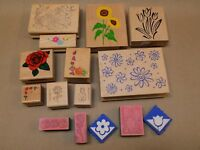 Floral Rubber Stamp Lot of 10 +5 Foam Sunflower Rose Tulips Hearts Flowers Daisy