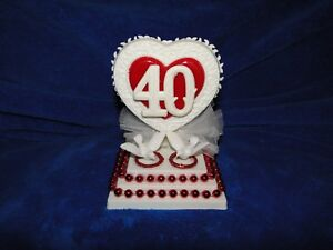 New Petite 40TH Wedding Anniversary Caketopper with love Birds and Red Rings