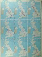 VINTAGE LARGE MAP of BRITAIN TELEPHONE TRUNK TRAFFIC LONDON BRISTOL SHEFFIELD
