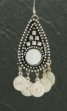 SILVER TONE MIRROR & COIN MEDALLION EARRINGS BELLY DANCE, MADE IN NDIA, TRIBAL