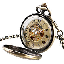 Classic Bronze Mechanical Steampunk Skeleton Pocket Watch Full Hunter Mens Gift