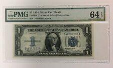 1934 $1 Silver Certificate FR 1606 PMG 64 EPQ DA Block Julian   Morgenthau