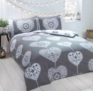 Rapport Skandi Hearts Double Duvet Set 100% Brushed Cotton Grey
