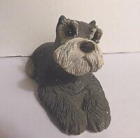 Sandicast Large Dog Figurine Schnauzer, Signed Sandra Brue,1983