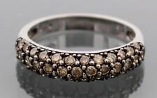 10k White Gold Chocolate Brown Diamond Ring Band Size 7.25 .74ct