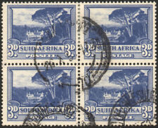 South Africa 1947-54 3d blue, SPOT IN TREE VARIETY, SG.117a, used block of 4