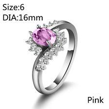 Oval Shape Silver Plated Women Sapphire Zircon Bride Wedding Ring Jewelry Pink 8