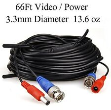 66ft Video and Power cable 3.3mm diameter thick, use for BNC Cameras (663)