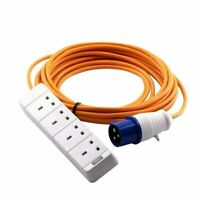 15m Caravan Extension Lead Electric Hook Up Cable 4 Way UK 13a to 16a Adaptor A7