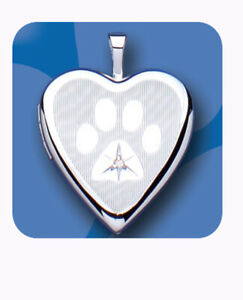 Silver Paw Heart Locket Real Diamond Pet Dog Sterling Silver All Chain Lengths