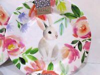 x4 Nicole Miller Easter Flower Floral  Bunny Rabbit Melamine Dinner Plates