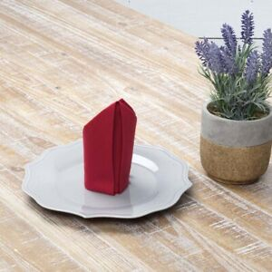 VHC Brands Farmhouse Napkins Set of 6 Red Tara Cotton Linen Kitchen Table Decor