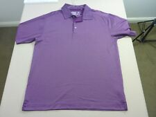 067 MENS NWOT CUTTER & BUCK DRY TEC DK PURPLE PATTERNED S/S POLO LRG $110 RRP.