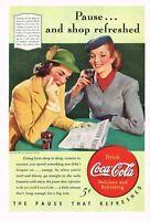1940s Original Vintage Coca Cola Ladies Reading Newspaper Fashion Art Print Ad