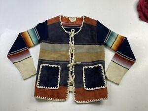 Vintage Women's Serape Navajo Aztec Leather Acrylic Tied Cardigan Sweater Small