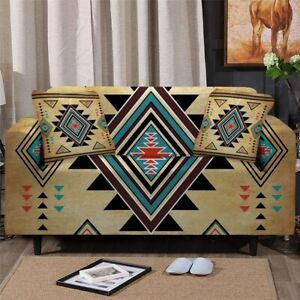 Geometric Tribal Boho Sofa Couch Chair Cushion Stretch Cover Slipcover Set Decor