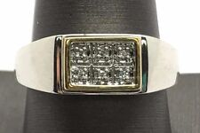 Men's Sterling Silver 10K Yellow Gold CZ Pave Rectangle Row Plain Band Ring 10.5