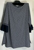 J Jill women Plus size 1X Pima cotton Lace / knit mix Tunic Stripes Top New