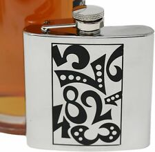 6 oz Whimsical Black Print Alcohol Liquor Flask Made of 304 (18/8) Stainless .