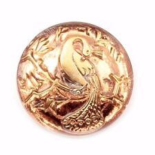 (1) 23mm Czech vintage hand gold gilt copper mirrored peacock art glass button