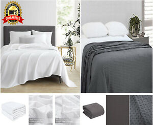 Waffle Weave Bed Throw Cover Large Size Sofa Warm Blanket Grey White Bedding Set
