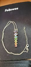 Shivam Made in India .925 Sterling Silver 7 Stone Chakra  Necklace - NEW