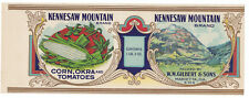 """NOS Vintage 1920's Kennesaw Mountain Brand CAN LABEL 11 1/4""""x4 ¼"""" GA Okra Mixed"""