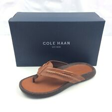 Cole Haan BRADY Leather Thong Flip Flop Sandal Brown Mens Size 12M New