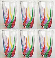 """""""VENETIAN CARNEVALE"""" HIGHBALL GLASSES - SET/6 - HAND PAINTED VENETIAN GLASSWARE"""