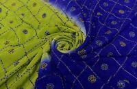Vintage Azul y Verde Saree Pesado Seda con Cuentas Bordado Usado Sari 4.6m Tela