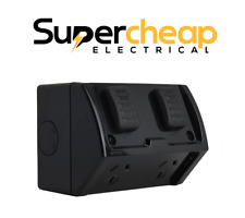 Black Weatherproof Power Point Outlet Socket Weather GPO External Outdoor