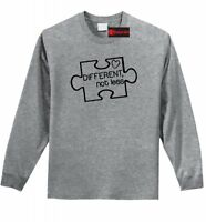 Different Not Less Autism Awareness LS T Shirt Puzzle Autistic Event Tee Z1